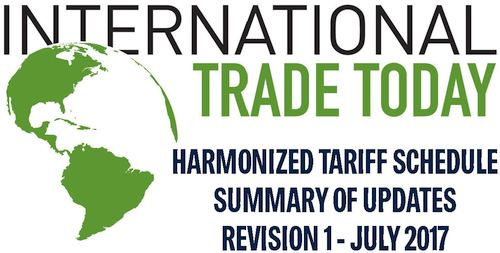 Harmonized Tariff Schedule July 2017 Summary